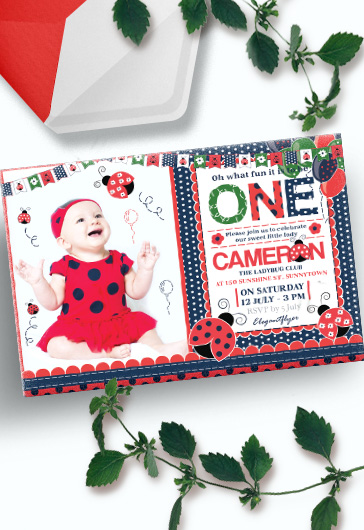 Birthday Party Ladybug – Invitation PSD Template