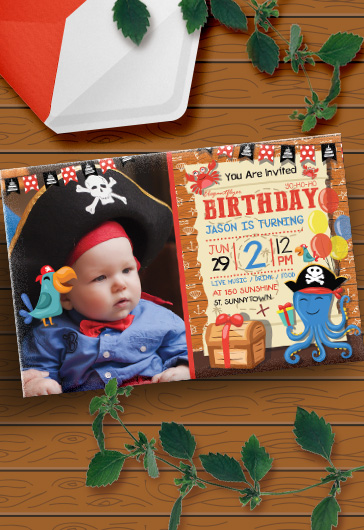 Birthday Party Pirate – Invitation PSD Template