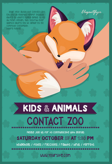 Contact Zoo – Flyer PSD Template
