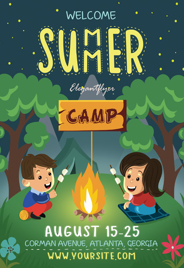 Summer Camp – Flyer PSD Template + Facebook Cove