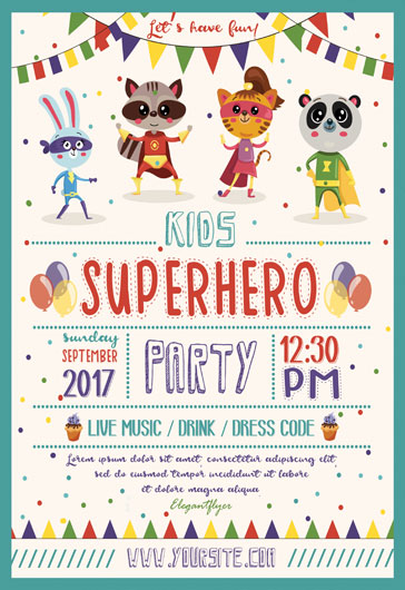 Kids Superhero Party – Flyer PSD Template