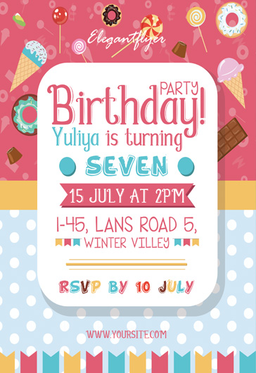 Sweet Birthday Party – Free Flyer PSD Template
