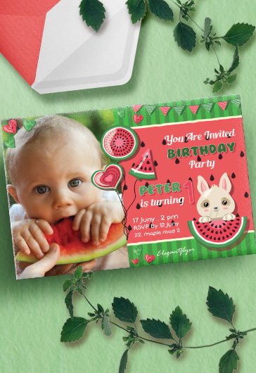 Watermelon Birthday Party – Invitation PSD Template