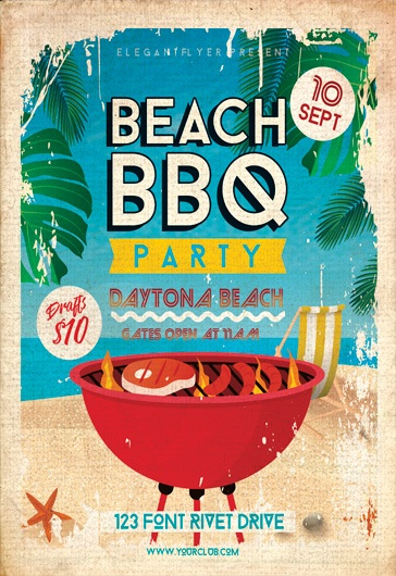 beach bbq party  u2013 flyer psd template  u2013 by elegantflyer