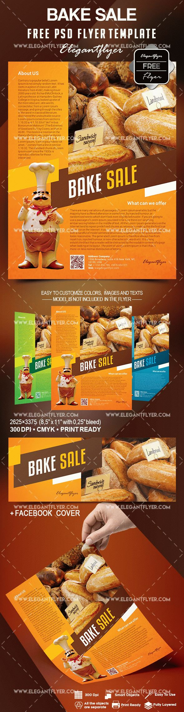 Free Bake Sale Flyer Template In Photoshop + Facebook Cover