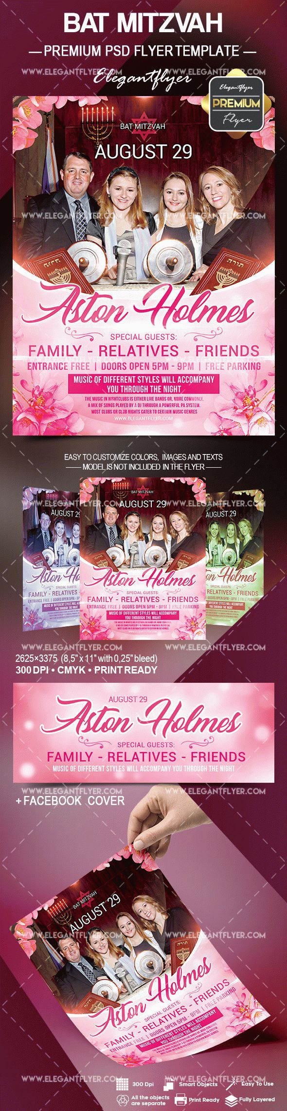 Bat Mitzvah – Flyer PSD Template
