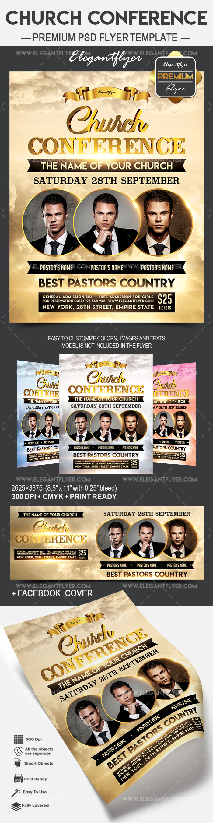 Church Conference – Flyer PSD Template + Facebook Cover