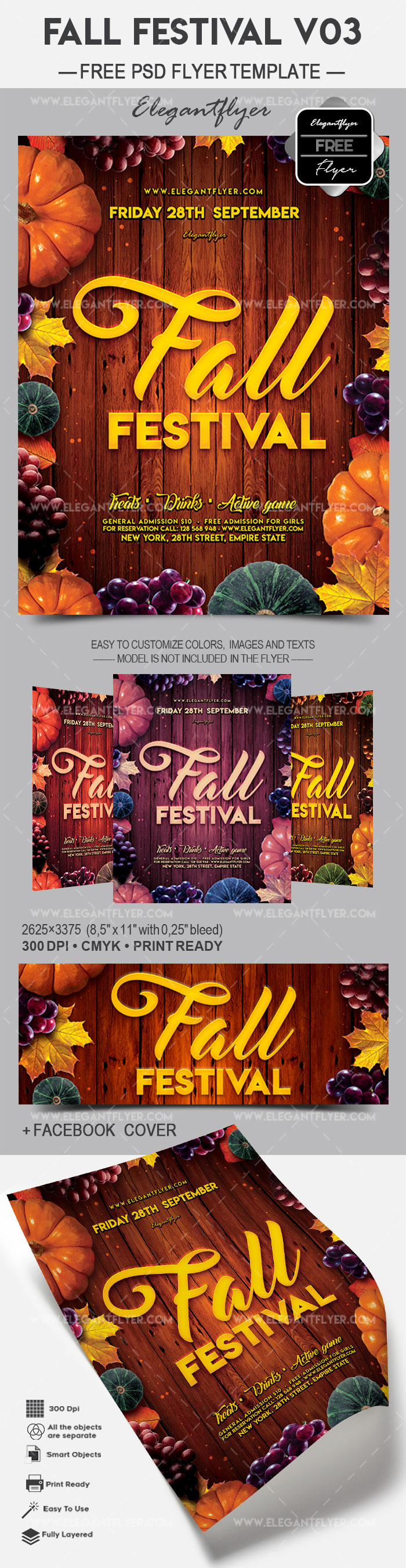 fall festival v03 free flyer psd template by elegantflyer. Black Bedroom Furniture Sets. Home Design Ideas