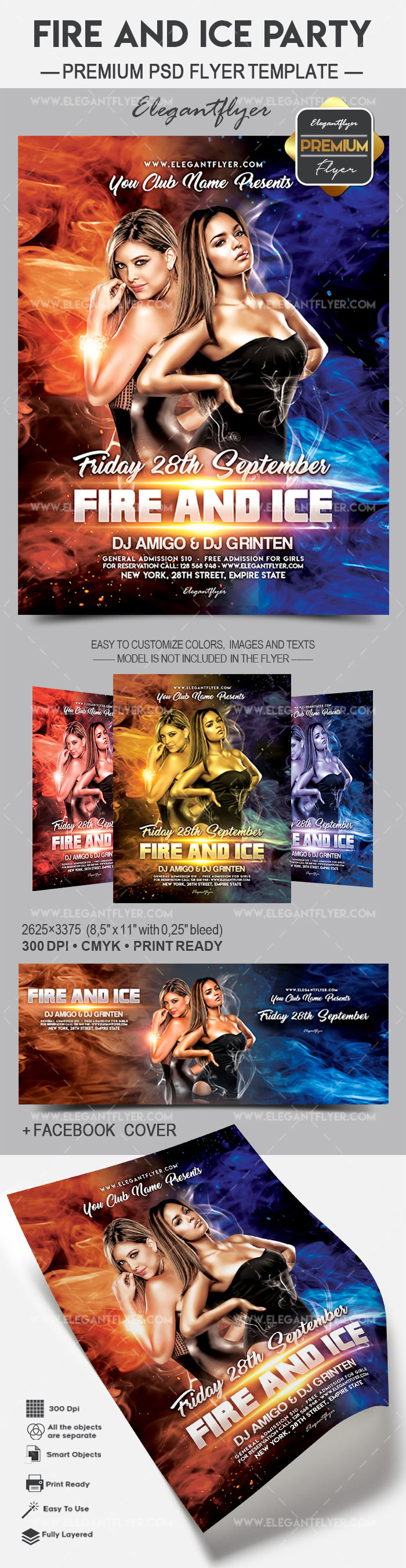 Fire and Ice Party – Flyer PSD Template