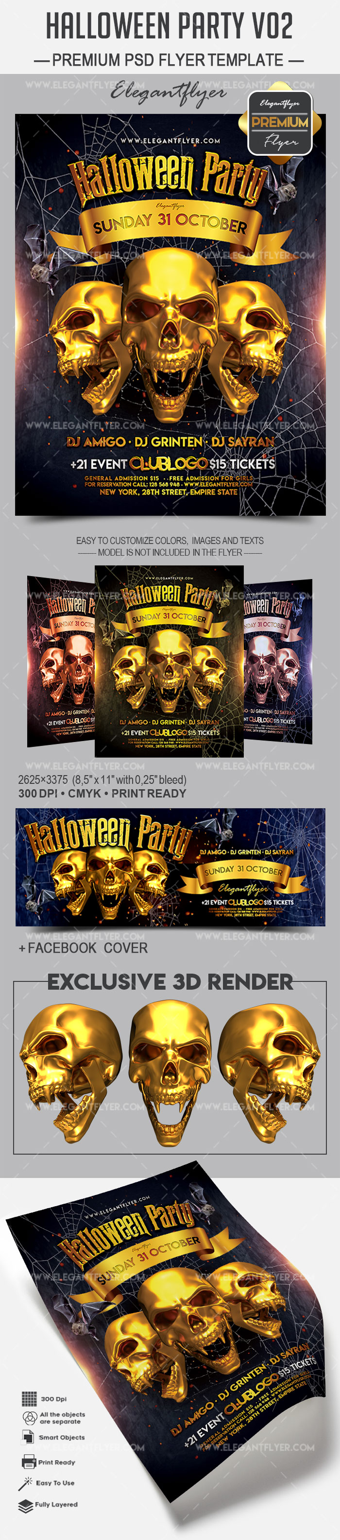 Halloween Party V02 – Flyer PSD Template + Facebook Cover