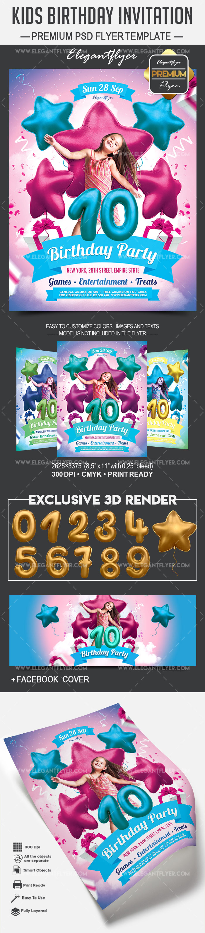 Kids Birthday Invitation – Premium PSD Template