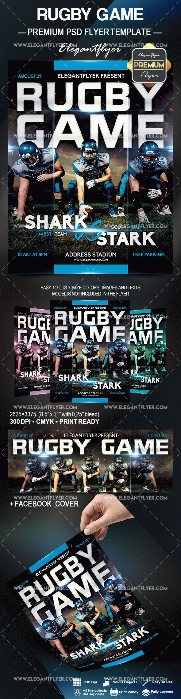 Rugby Game – Flyer PSD Template