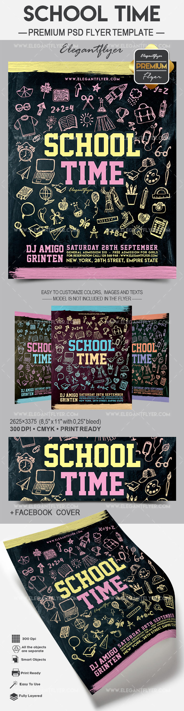 School Time – Flyer PSD Template + Facebook Cover
