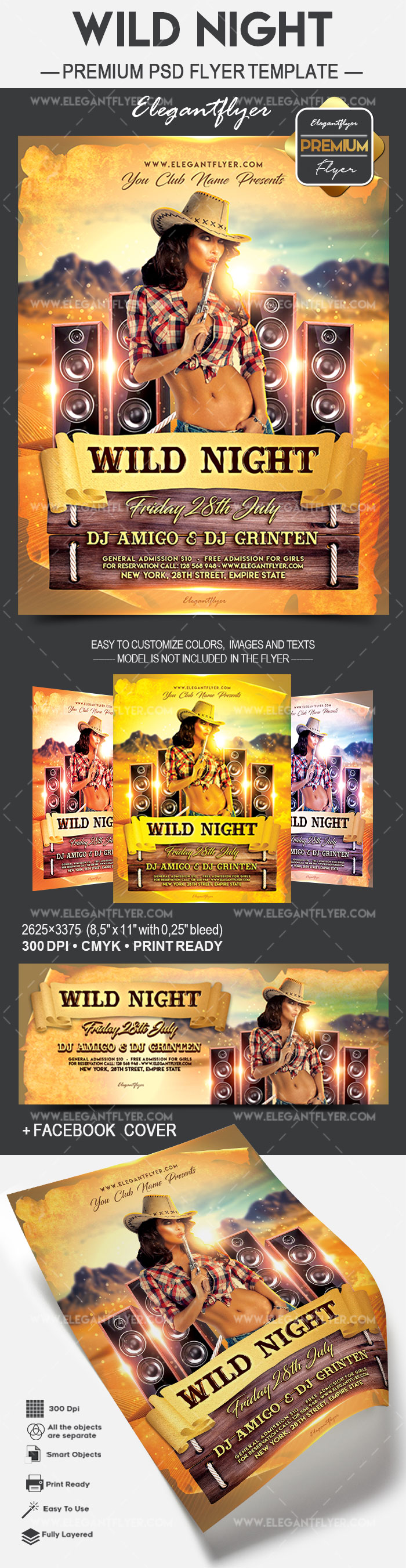 Flyer Template for Wild Night Party
