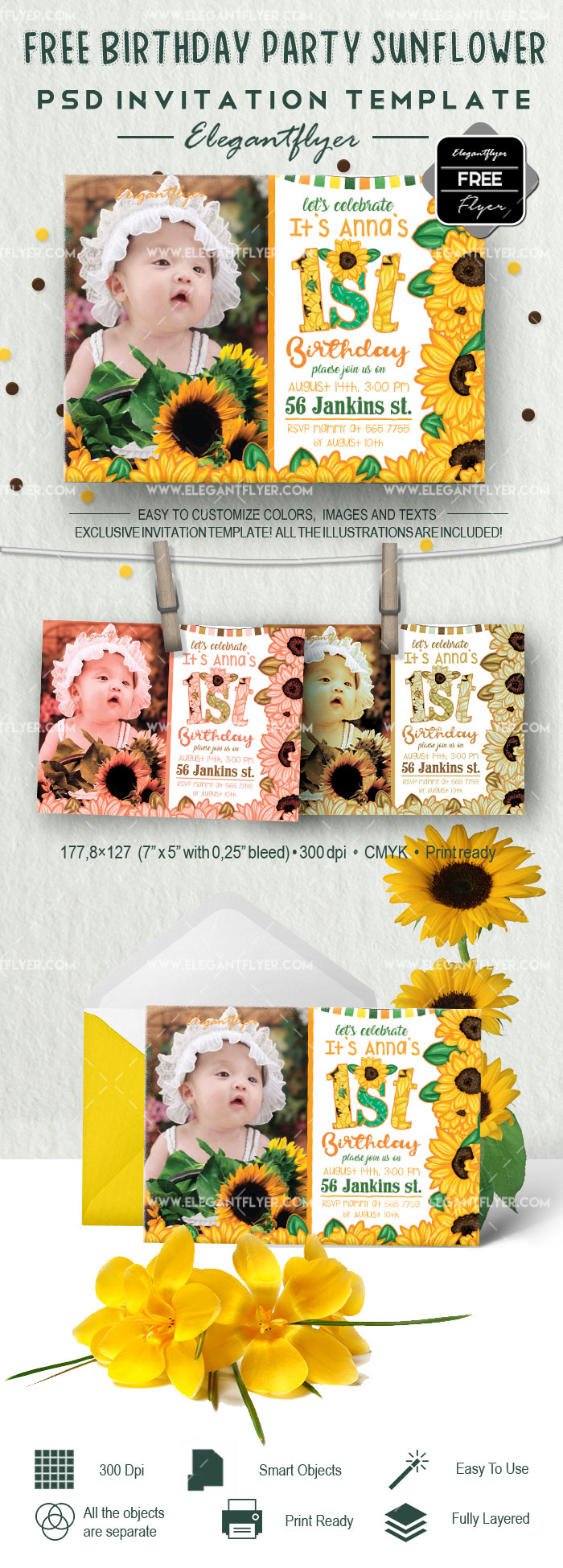 Free Invitation for Birthday Party Sunflower