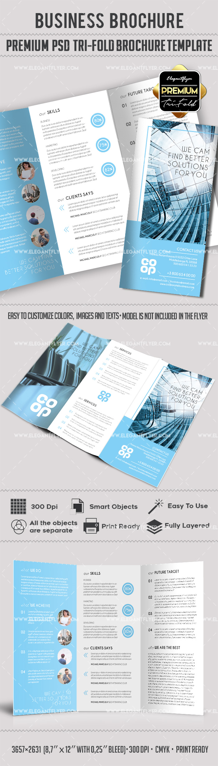 Tri fold brochure for company by elegantflyer for Tri fold brochure template psd