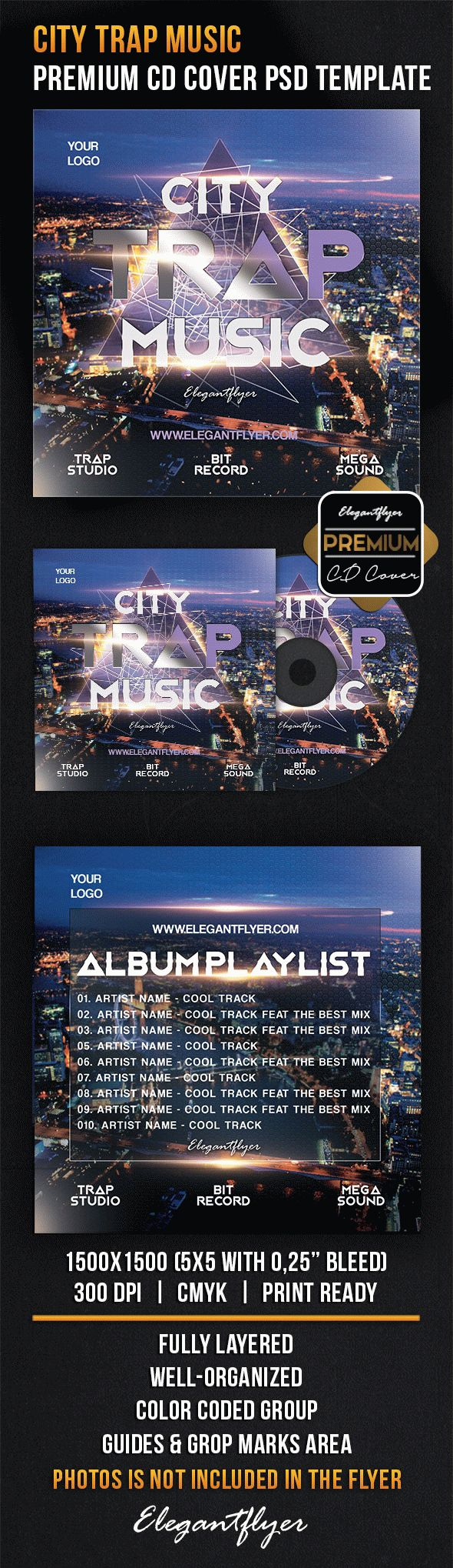 City Trap Music – Premium CD Cover PSD Template