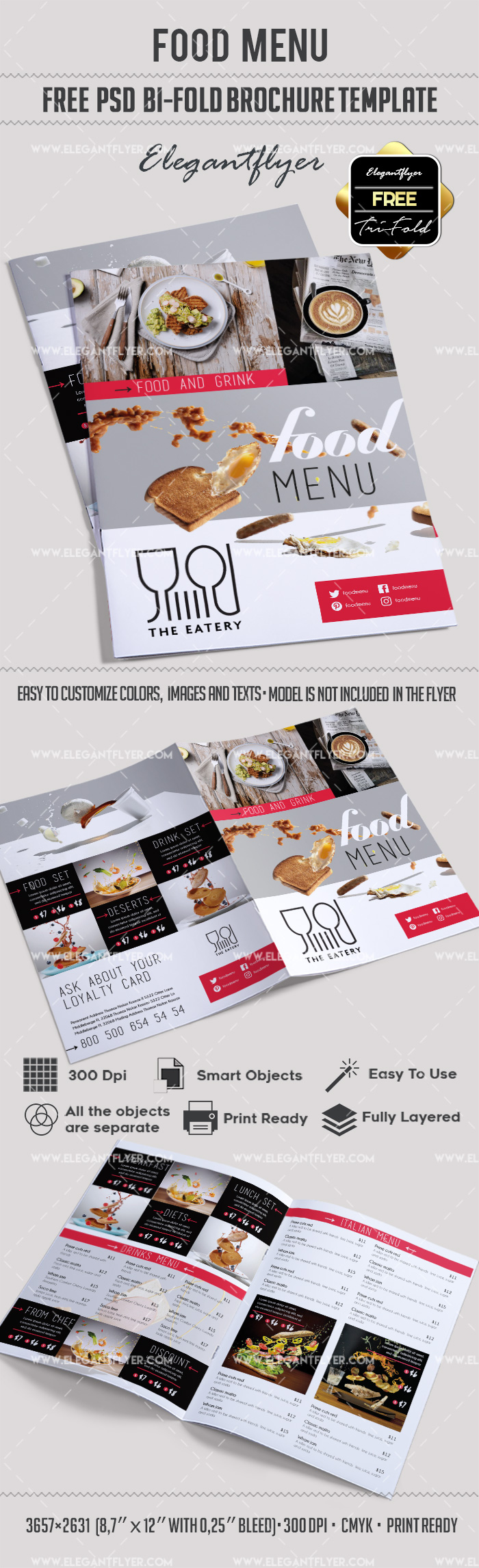 Restaurant Brochure Template | Free Food Menu Restaurant Brochure Template In Psd By Elegantflyer