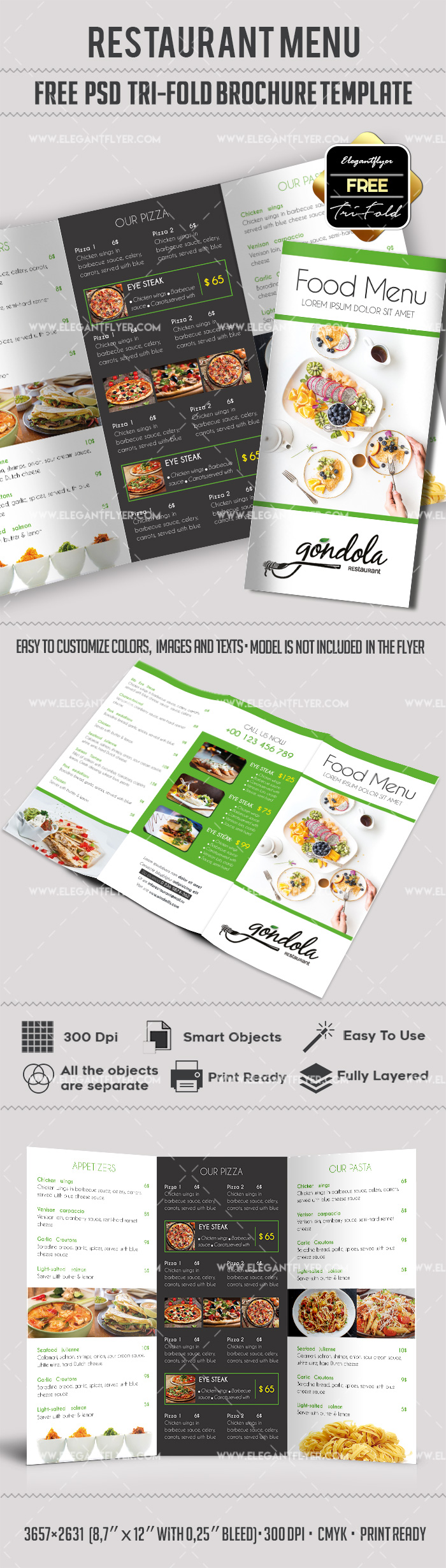 Free food menu restaurant brochure template in psd by for Free food brochure templates