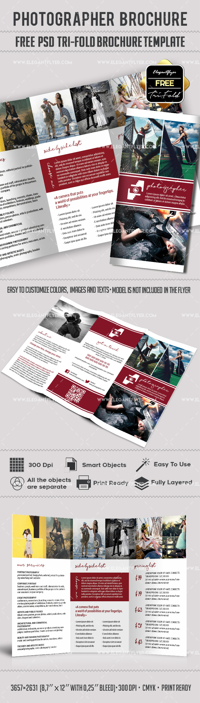 Photography TriFold Brochure Template By ElegantFlyer - Photography brochure templates free