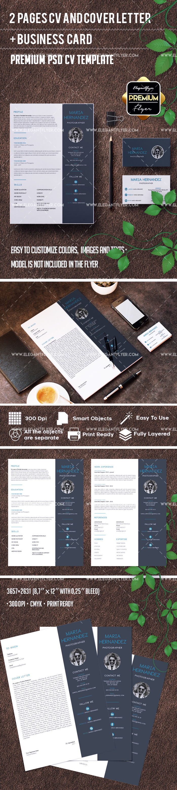 Working Resume Template in PSD + CV and Cover Letter