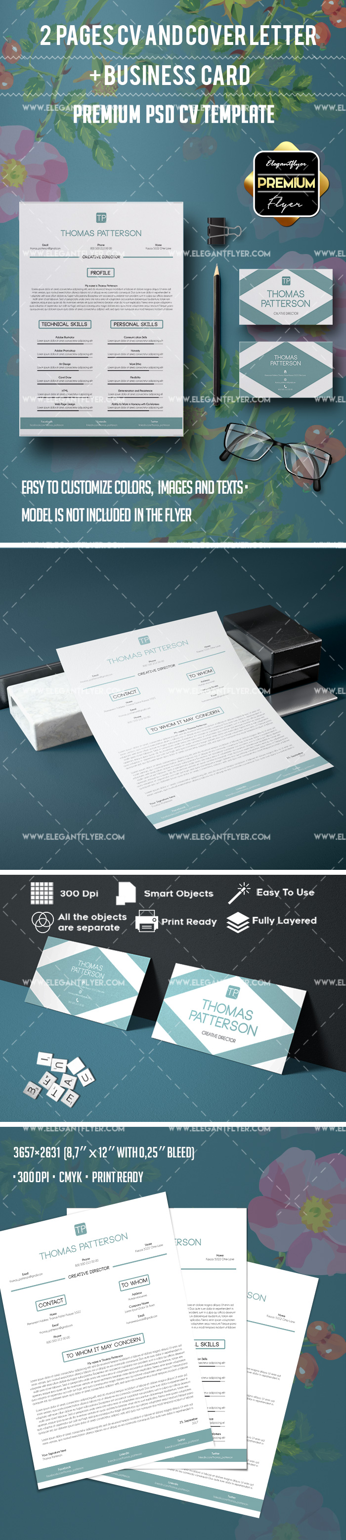 job resume template 2 pages business card by elegantflyer. Black Bedroom Furniture Sets. Home Design Ideas