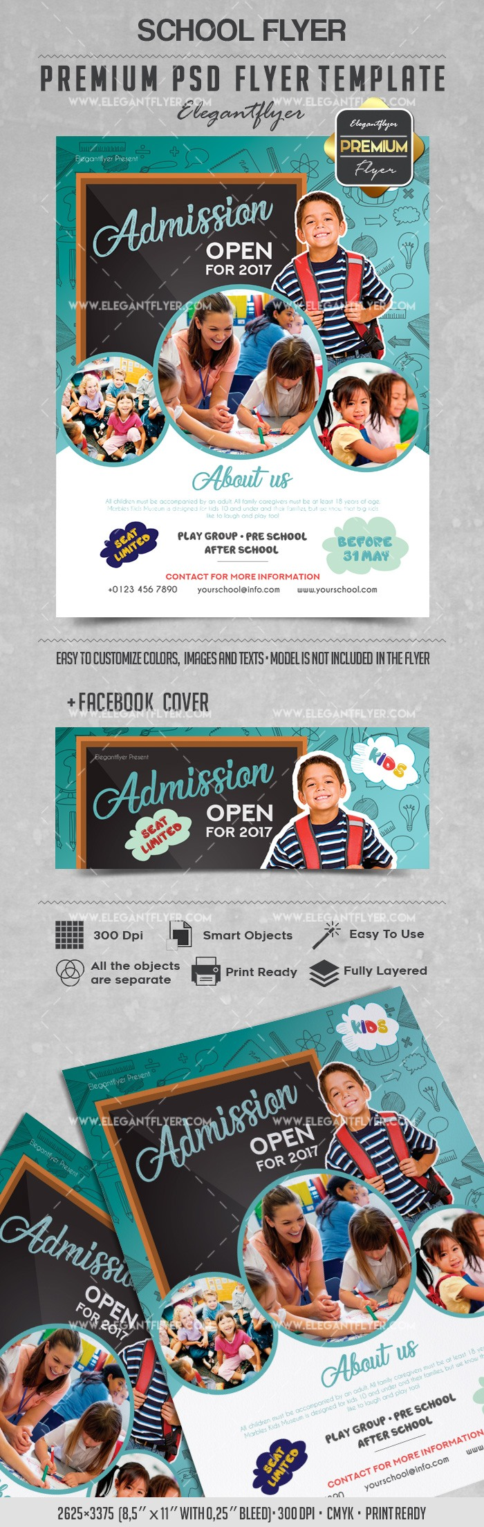 School – Flyer PSD Template + Facebook Cover