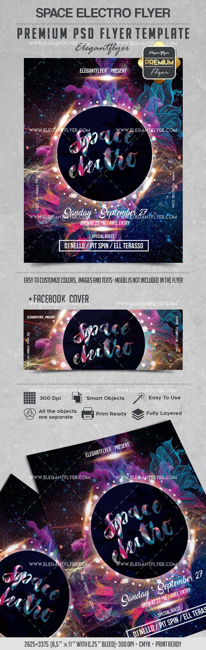 Space Electro – Flyer PSD Template