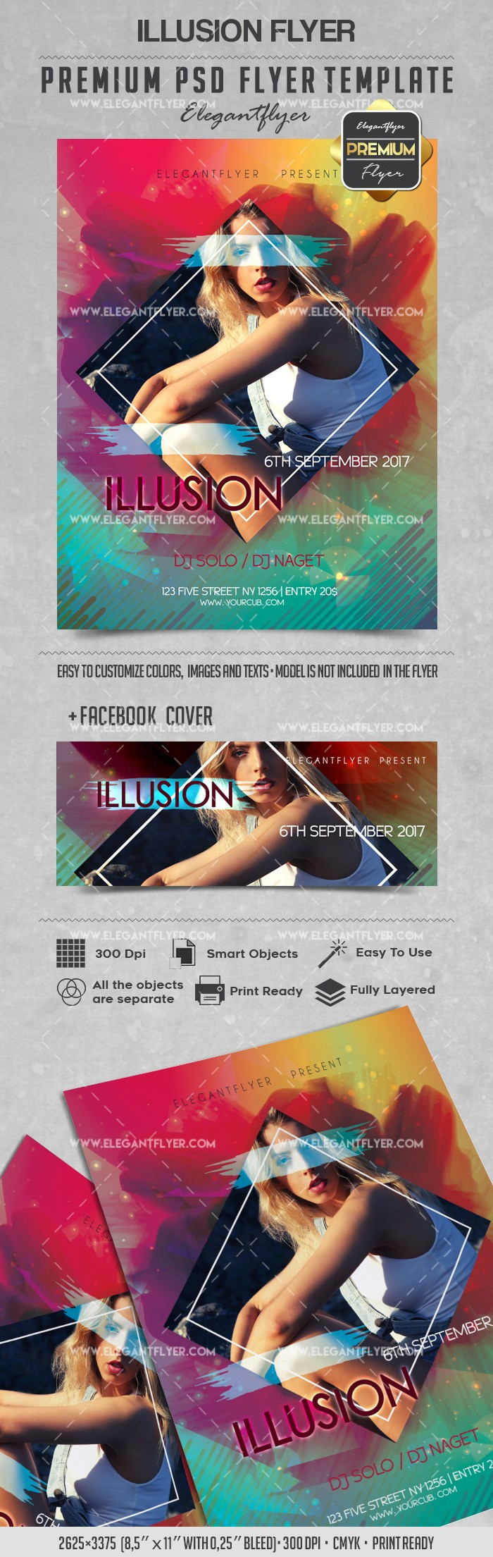 Illusion – Flyer PSD Template + Facebook Cover