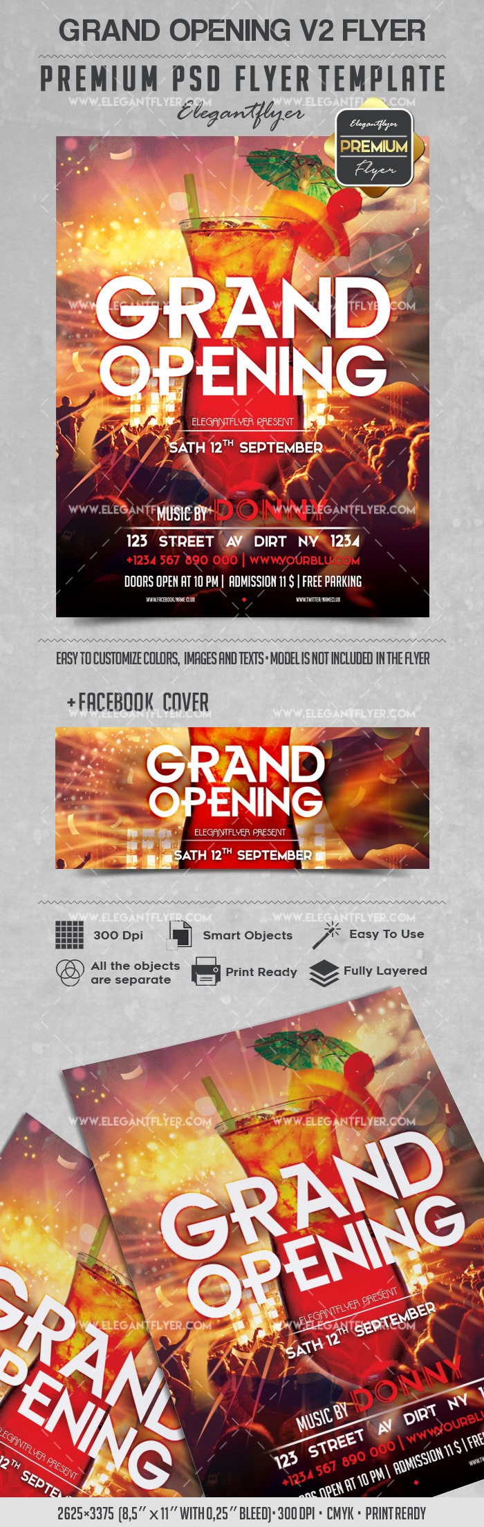 Grand Opening V2 – Flyer PSD Template + Facebook Cover