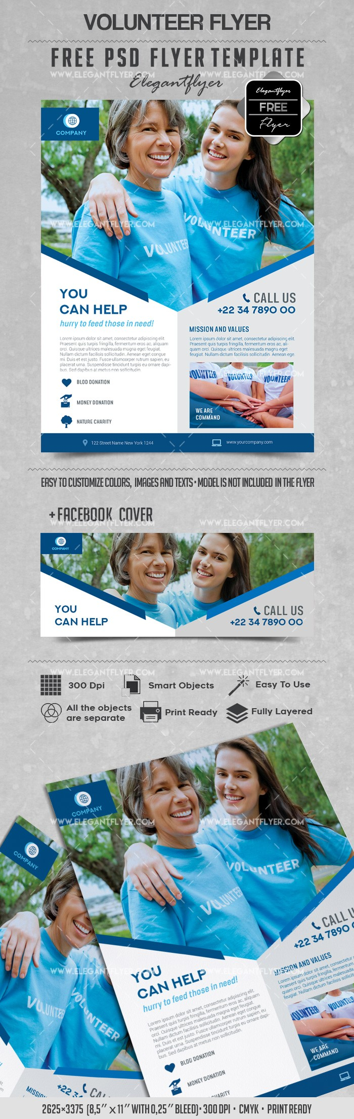Volunteer – Free Flyer PSD Template