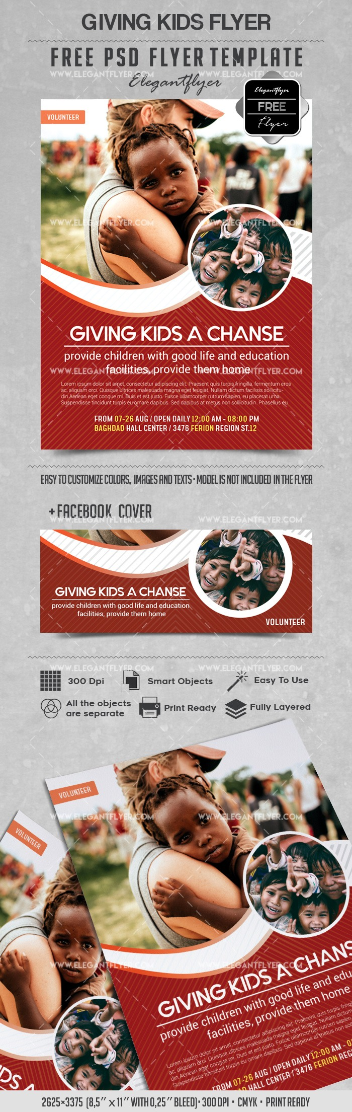 Giving Kids  – Free Flyer PSD Template