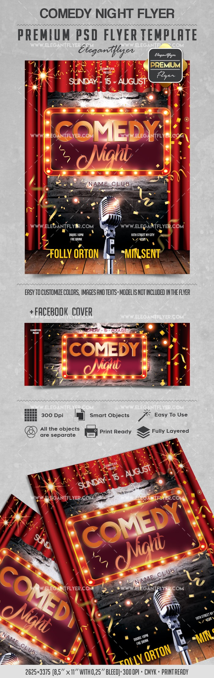 comedy night  u2013 flyer psd template  u2013 by elegantflyer