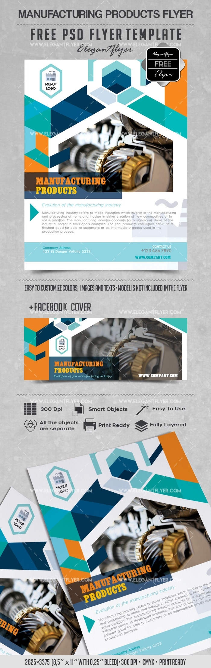 Manufacturing Producrts – Flyer PSD Template