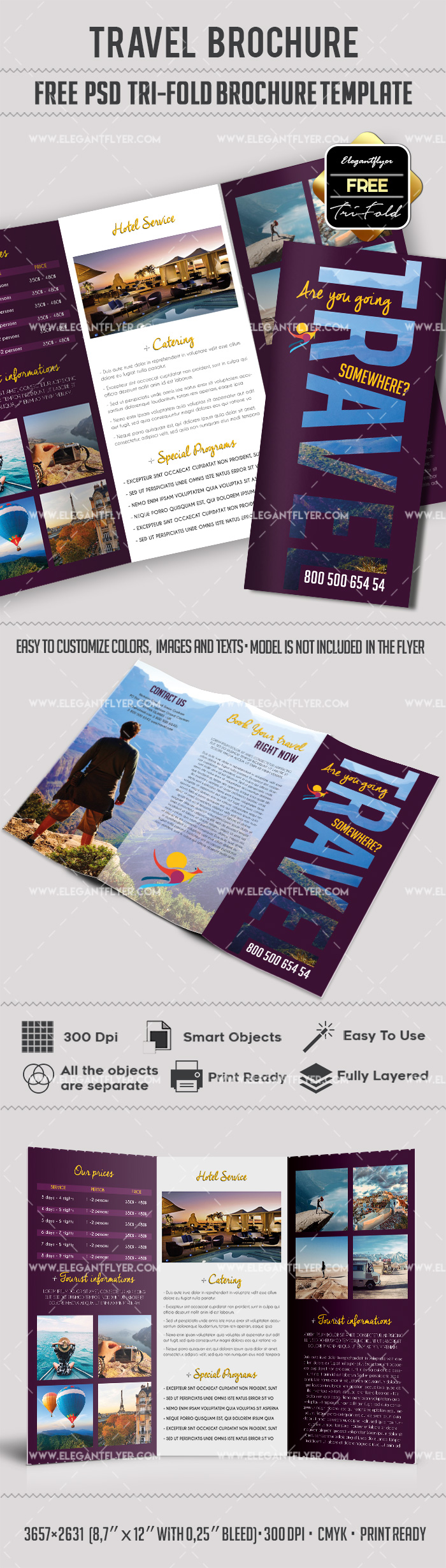 Tri fold travel brochure template by elegantflyer for Tri fold travel brochure template