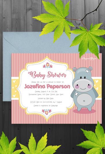 Flyer for Hippo Baby Shower