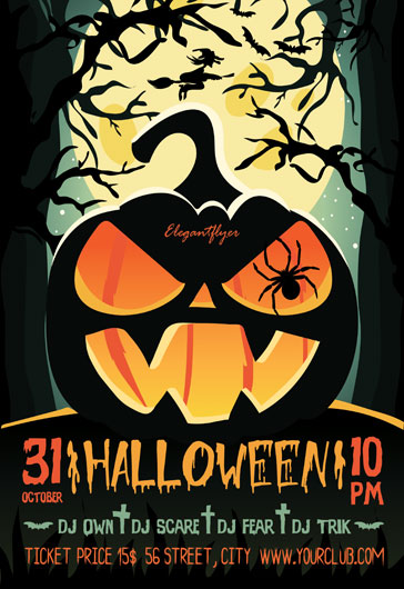 Flyer Template for Halloween Zombie Party