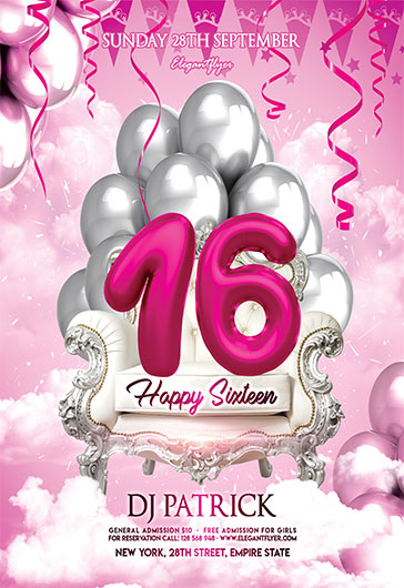 happy sixteen  u2013 free flyer psd template  u2013 by elegantflyer