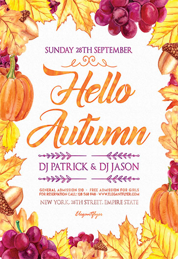 Invitation Flyer For Hello Autumn