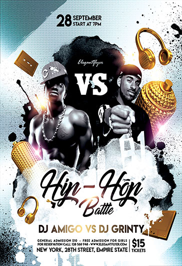 Hip-Hop Battle – PSD Flyer Template + Facebook Cover + Instagram Post