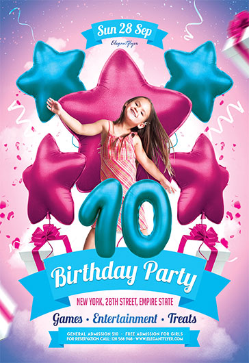 Kids Birthday Invitation – Flyer PSD Template