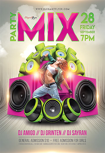 mix party  u2013 flyer psd template  u2013 by elegantflyer