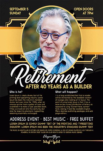 Free Retirement Flyer Templates For Photoshop By Elegantflyer