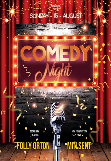 Comedy Night  Flyer Psd Template  By Elegantflyer