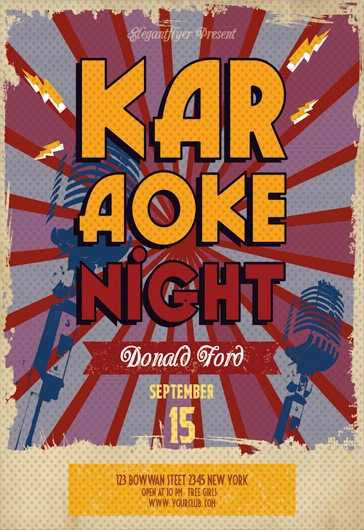 Flyer Template for Late Night Karaoke