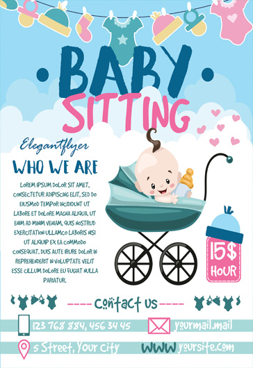 free babysitting psd template  u2013 by elegantflyer