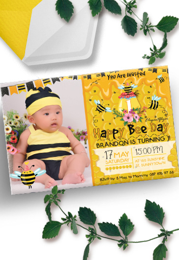 Birthday Party Bee – Invitation PSD Template