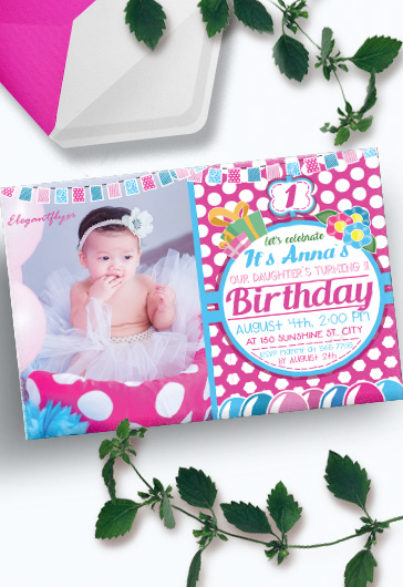 Birthday Party Pink – Invitation PSD Template