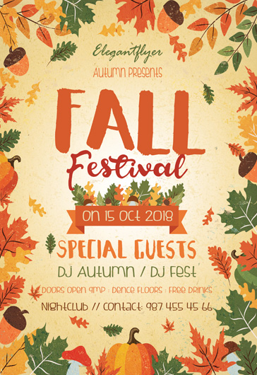 fall festival free flyer psd template by elegantflyer. Black Bedroom Furniture Sets. Home Design Ideas
