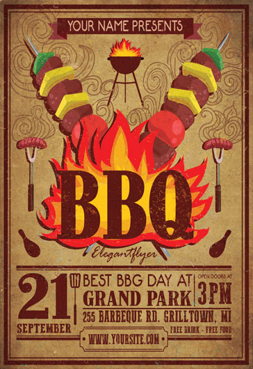 Free Bbq Flyer Template Free Flyer Psd Template  Facebook Cover
